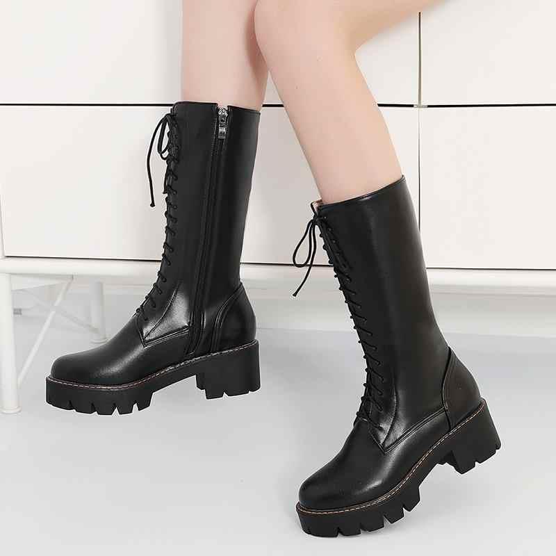 MORAZORA 2020 yeni kadın orta buzağı çizmeler lace up platformu çizmeler yuvarlak ayak sonbahar kış botas bayan ayakkabı boyutu 34-43