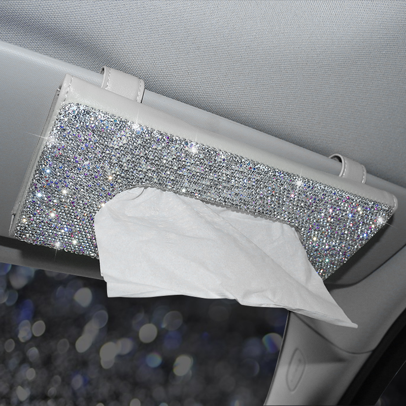 Rhinestone Crystal Car Tissue Box For Sun Visor Auto Hanging Tissue Box Diamond Sunshade Case Auto Car Accessories