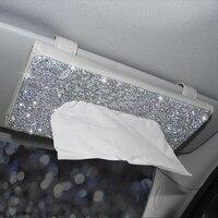 Otomobiller ve Motosikletler'ten Peçete Kutuları'de Taklidi kristal araba doku kutusu güneşlik oto asılı doku kutusu elmas güneşlik kılıfı oto araba aksesuarları