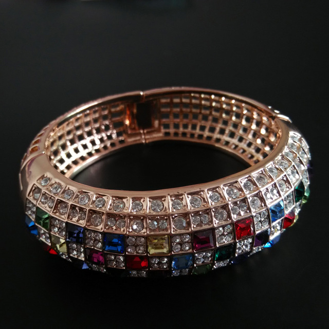 Austria Crystal Multicolored Lady Bangle Bracelet Princess Queen Birthday Gifts Brand Jewelry For Women Party Banquet Jewellery