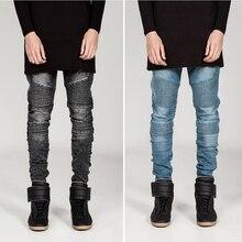 Мужская узкие джинсы мужчин 2015 Плиссированные тонкие эластичные джинсовые байкер джинсы хип-хоп брюки промывают джинсы для мужчин черный синий серый MJ52