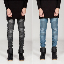 Hombres skinny jeans hombres 2015 Plisado denim elástico delgada del motorista pantalones vaqueros de hip-hop pantalones vaqueros lavados de los hombres negro azul gris MJ52