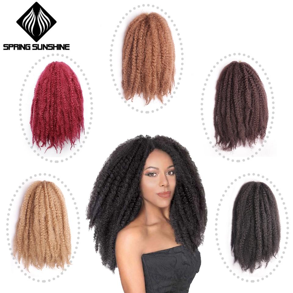 "Spring Sunshine Soft Afro Kinky Natural Kanekalon Marley braiding Extension For Braids 18"" 100g Synthetic Crochet Braids Hair"