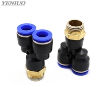 цена на PX Pneumatic Fitting Y Shaped Tee 4mm-12mm OD Hose Tube M5 1/8 1/4 3/8 1/2 BSP Male Thread 3 way Air Coupler Connector