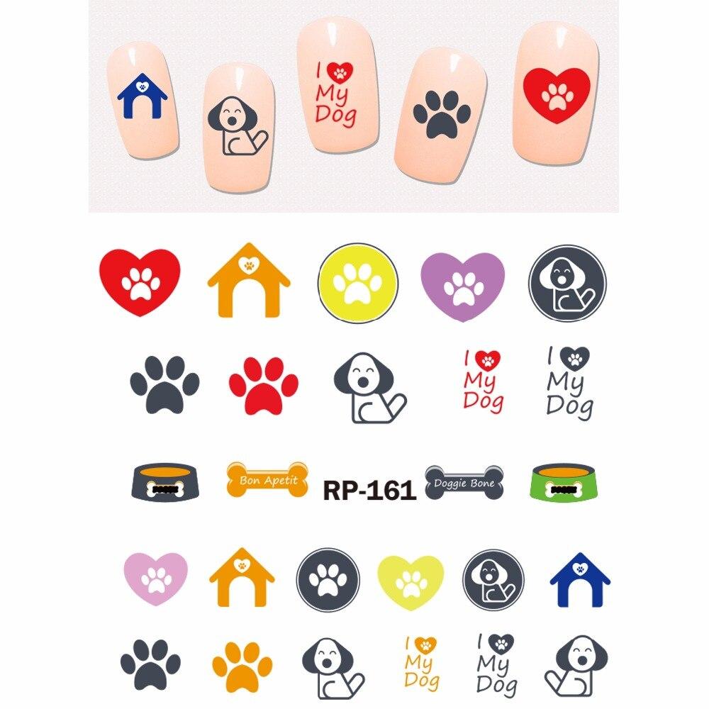 Clever Nail Art SchÖnheit Nagel Wasser Aufkleber Slider Cartoon Tier Hund Bullterrier Spaniel Hund Pfote Knochen Haus Rp157-162