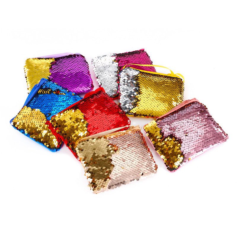 Lovely Mermaid Sequins Coin Purse Neck Strap Handbag Kids Girl Glittering Purse Small Walle Zipper Clutch Bag Earphone Package glittering mermaid v neck sequins weep train long evening dress