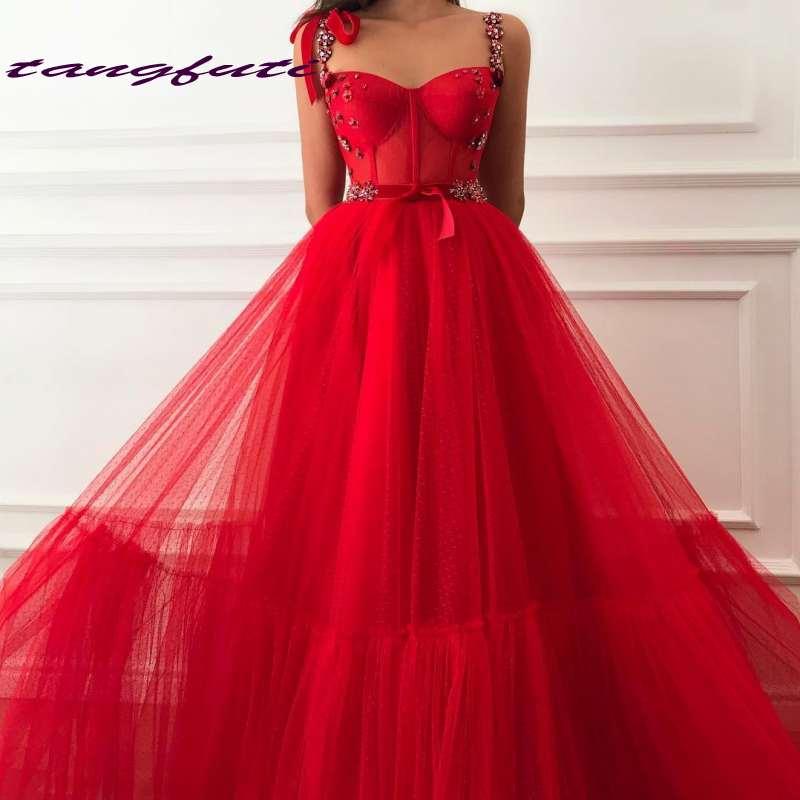 Princesse cristaux rouges robes de grande taille de bal Tulle arabe fille africaine reconstitution historique robe de soirée formelle une ligne robe de bal