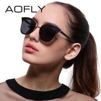 AOFLY Sunglasses Women Cat Eye Sun Glasses For Women Luxury Brand Designer Vintage Mirror Lens Shades