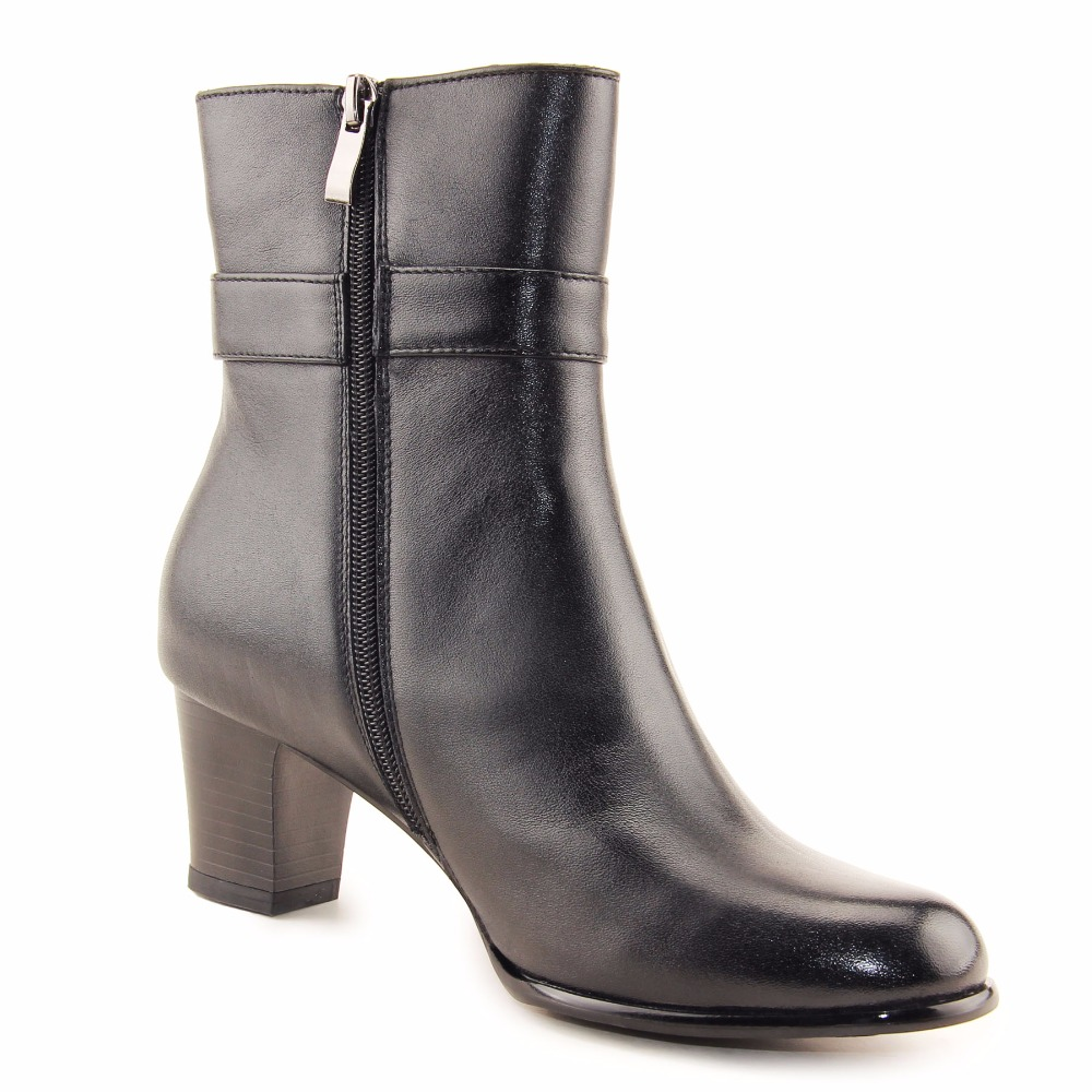 US $128.0 |QIANGREN Marke frauen Herbst Winter High Heels Echtem Leder Wolle Schwarze Stiefel Damen Frau Schuhe Offizier Botas Militar in QIANGREN