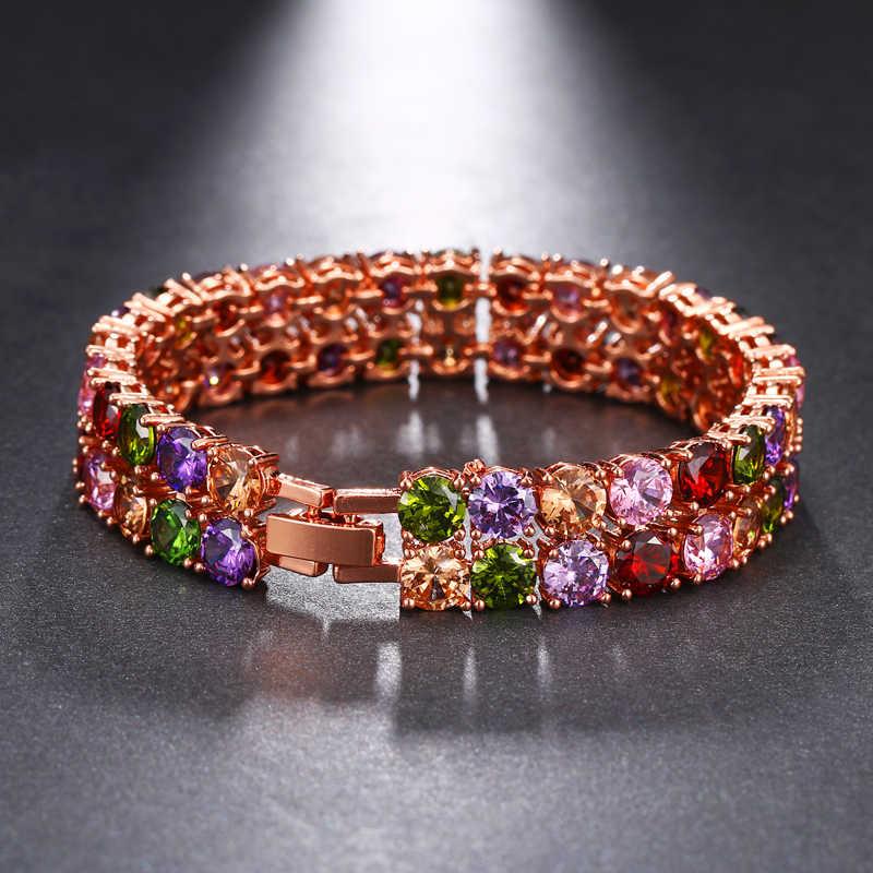 Emmaya מותג אופנה קסם AAA מעוקב זירקון צבעים גיאומטרי קריסטל צמידים לנשים פופולרי תכשיטי חתונה מסיבת מתנה