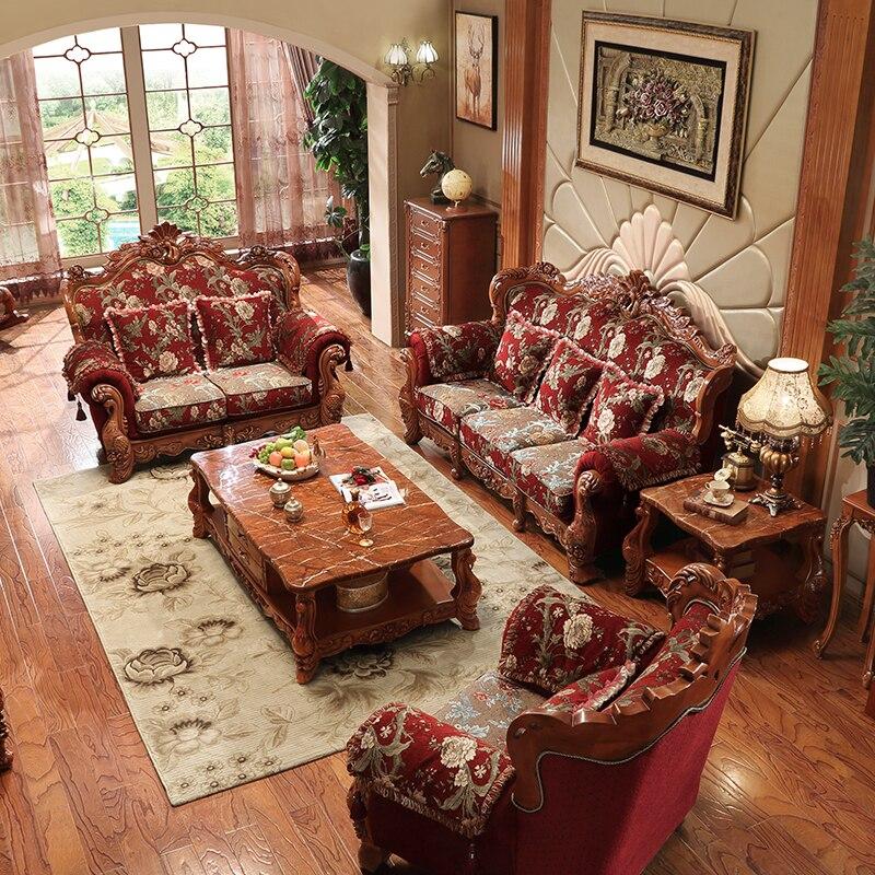 Gaya Eropa Sofa Villa Ruang Tamu Keluarga Besar Kain Kayu Solid