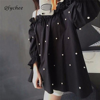 Fashion Harujuku Cute Girl White Pearls Beading Off Shoulder Blouse Long Lantern Sleeve Black Shirts