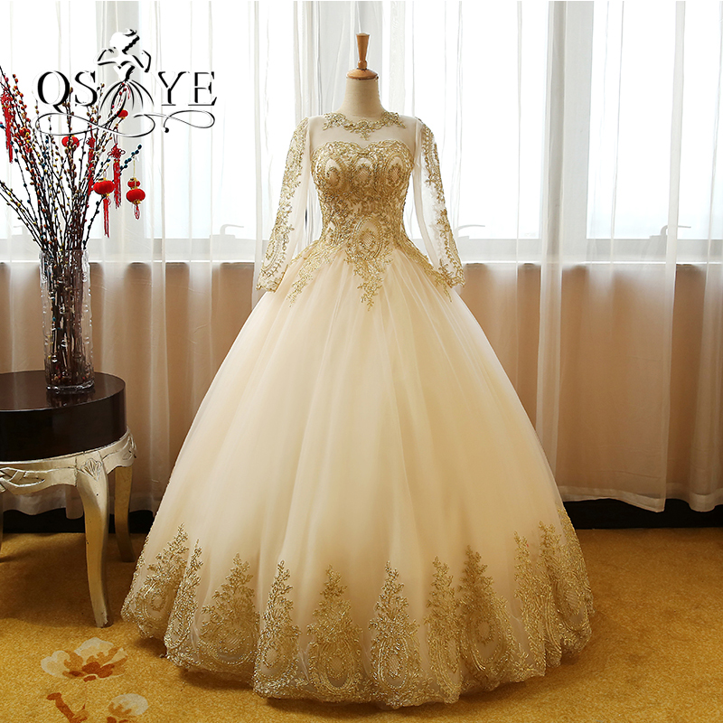 Vestido de Novia Ball Gown Champagne Lace Prom Dresses 2017 Sexy Sheer Neck Long Sleeves Gold Appliques Tulle Wedding Party Gown