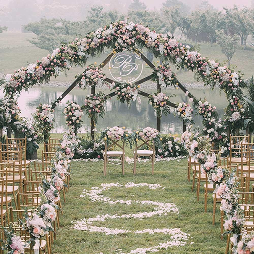 Panneaux de fleurs artificielles décoration de mariage toile de fond Champagne soie Rose faux fleurs hortensia mur toile de fond