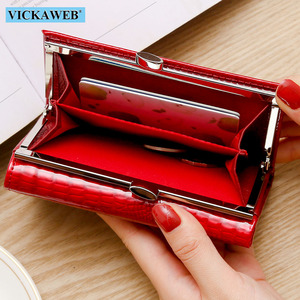 Image 3 - VICKAWEB Small Wallet Women Patchwork Genuine Leather Female Purse  Womens Wallets Ladies Casual Womens Money Zipper&Hasp walet