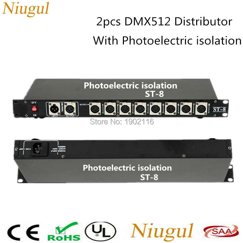 2PCS DHL/FedEx Free shipping DMX512 Splitter Light Signal Amplifier Splitter 8 way DMX Distributor with Photoelectric isolation