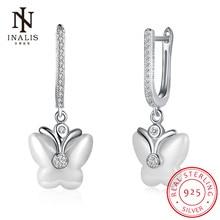 Inalis керамические дизайна моды бабочки 925 серебра cz болтаются серьги ювелирных украшений для женщин подарок