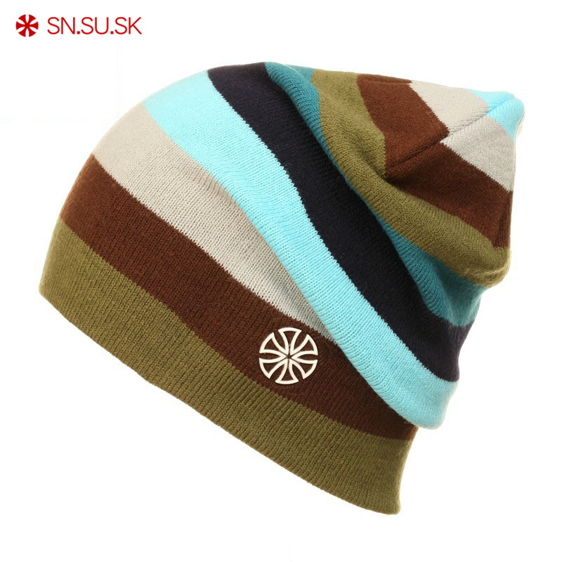 SNSUSK Brand Winter Snowboard Ski hat Skating Lot Caps   Skullies   And   Beanies   For Men Women Rainbow Color Hip Hop Caps 02-9072