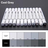TOUCHNEW 12 30Color Cool Gray Marker Warm Gray Marker Set Dual Tips Alcohol Based Art Marker