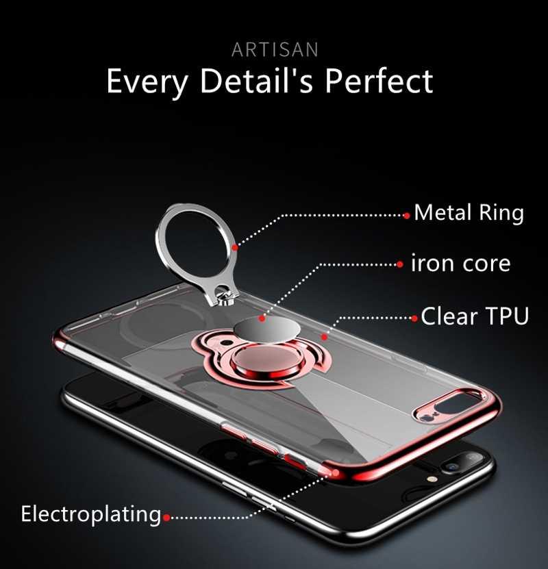 Anillo soporte para Samsung Galaxy S10 S10e de silicona suave magnético coche caso para Galaxy S9 A6 J4 J6 2018 carcasa transparente Ultra delgada