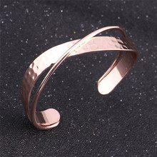 Fashion Rose Gold Color Women Girl Gift Cuff Bangle Bracelet Drop Shipping Texture Design Geometric Copper Open Bangle Jewelry