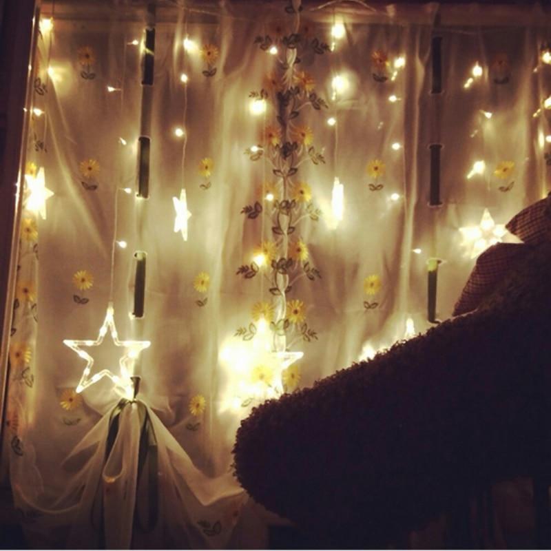 2M 138LED Nizke luči AC 120V / 220V Barvite zvezde Zunanja zabava Dekoracija zaveseStar Style za božič, zabave, poroko
