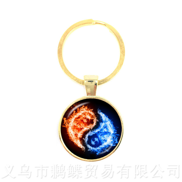 The Fire And Water Symbol Jewelry Yin Yang Glass Dome Keychains