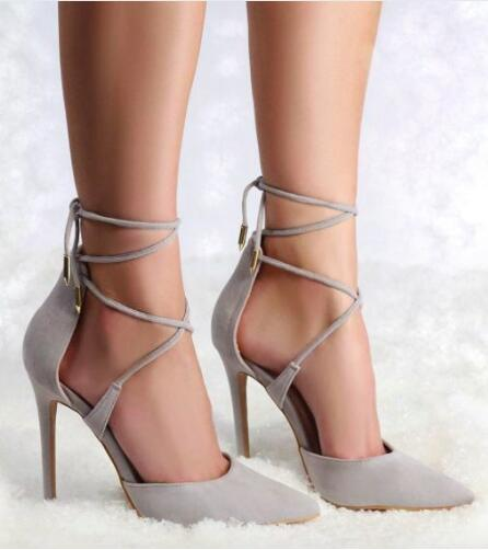 2016 spring hot selling elegant grey pink beige suede lace up high heel pumps pointed toe cross strap wrapped heel shoes