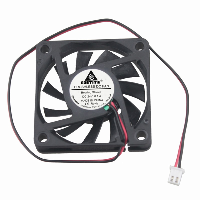 1 Pieces Gdstime 2Pin DC 24V 24 Volt 6cm 60x60x10mm Brushless Cooler Cooling Fan 60mm x 10mm цена