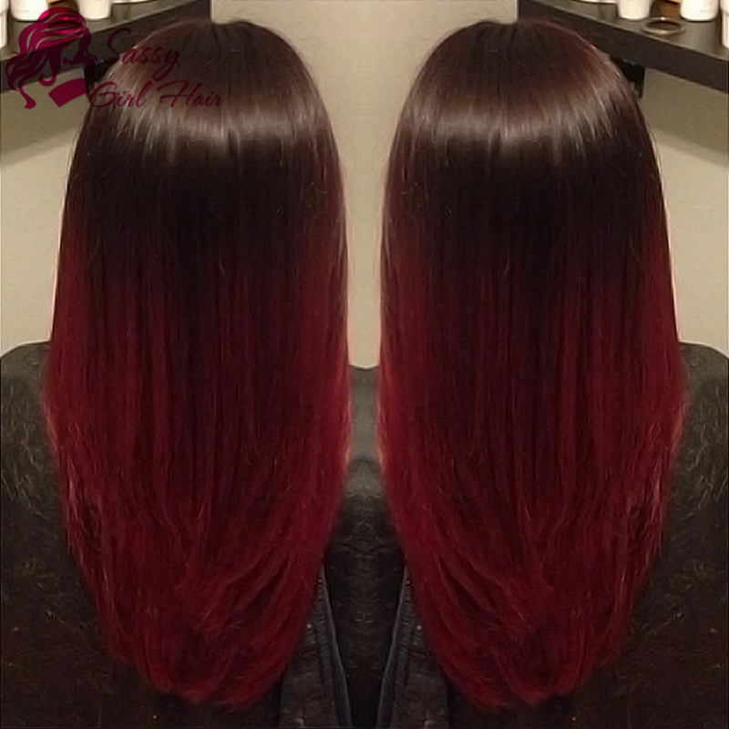 Ombre Hair Weave Bundles 7a Peruvian Virgin Hair Straight Ombre Burgundy Weave