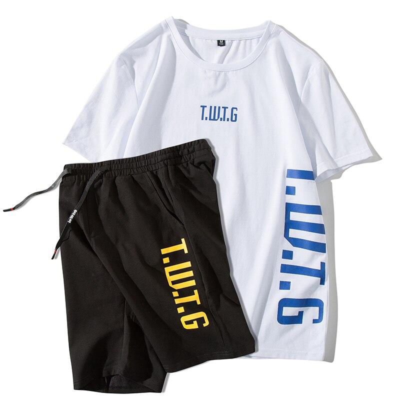 f8956c836 Mens Fitness chándal de verano camiseta + Pantalones cortos prendas  deportivas hombres juegos ...