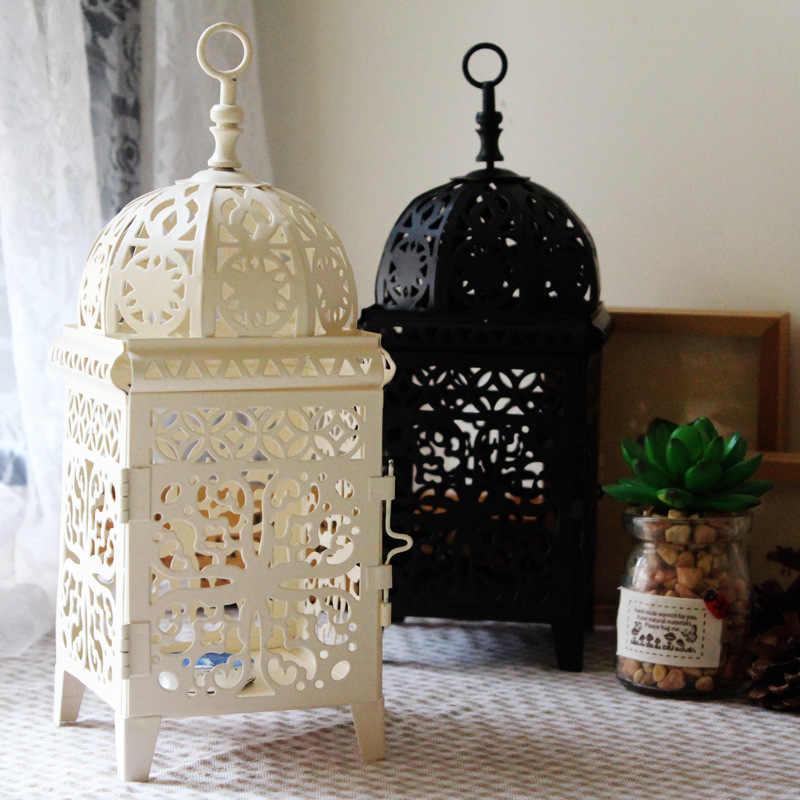 Металлический полый подсвечник Ремесло Свеча светильник чай светильник украшение дома Марокканская люстра-подсвечник свадебное украшение