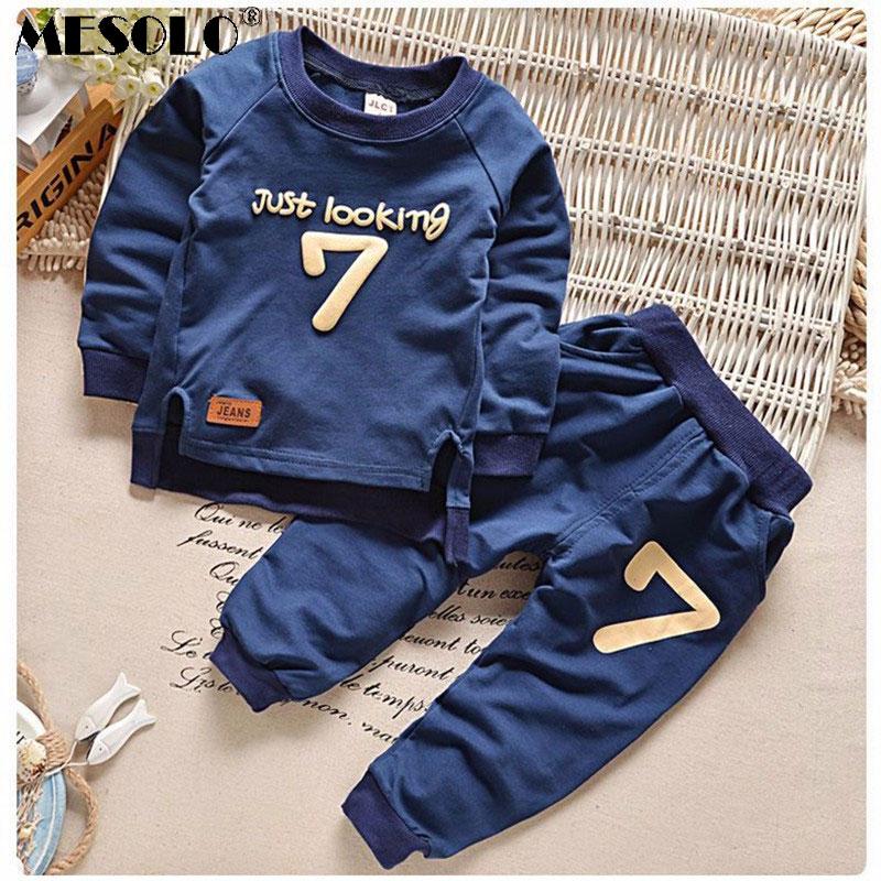 MESOLO Free2-6Осіннє набір одягу для дітей Хлопчики Дівчата Теплі светри з довгими рукавами + Штани Модні дитячі одяги Спортивний костюм для дівчаток