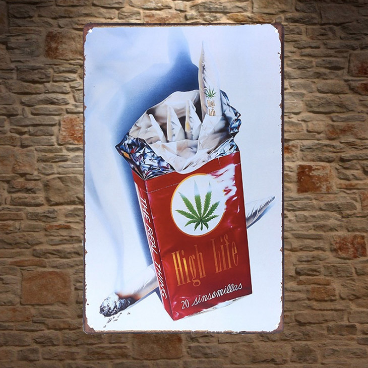 1 pc Marijuana smoke smoking joint weed garage Tin Plate Sign wall plaques man cave Decoration vintage Poster metal
