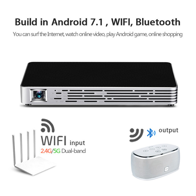 AUN DLP Projector D7. Build in Android 7.1, WIFI, Bluetooth, 4,200mAH Battery, HDMI. Free Mouse. Portable Beamer Online Upgrade