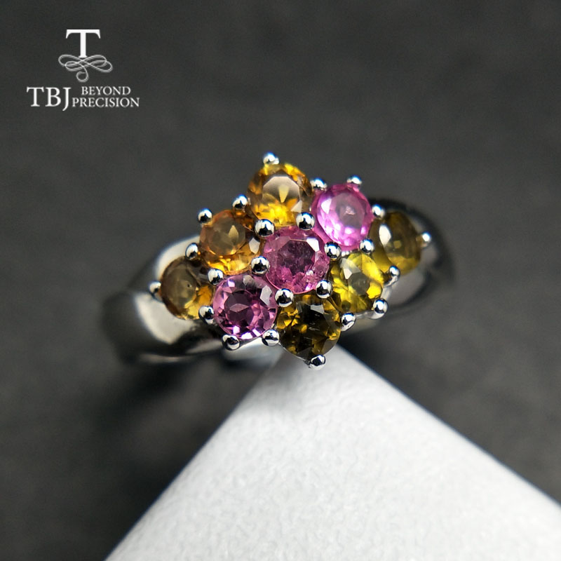 TBJ Natural simple Comfortable Finger tourmaline gemstone ring in 925 sterling silver gemstone jewelry for women