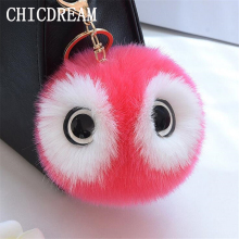 CHICDREAM 13cm Fluffy Faux Fox Fur Pom pom Keychains,Women Backpack Bunny Fur Keychains Bag Car Charm Owl Key Chains Chaveiro