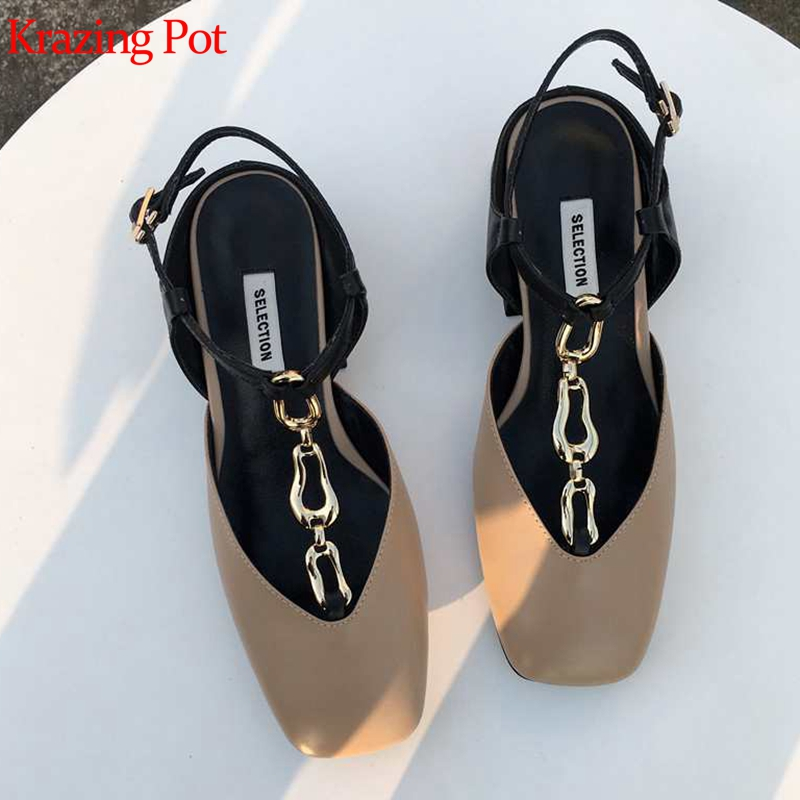 Krazing Pot genuine leather med heels metal chains shallow buckle straps square toe brand British style