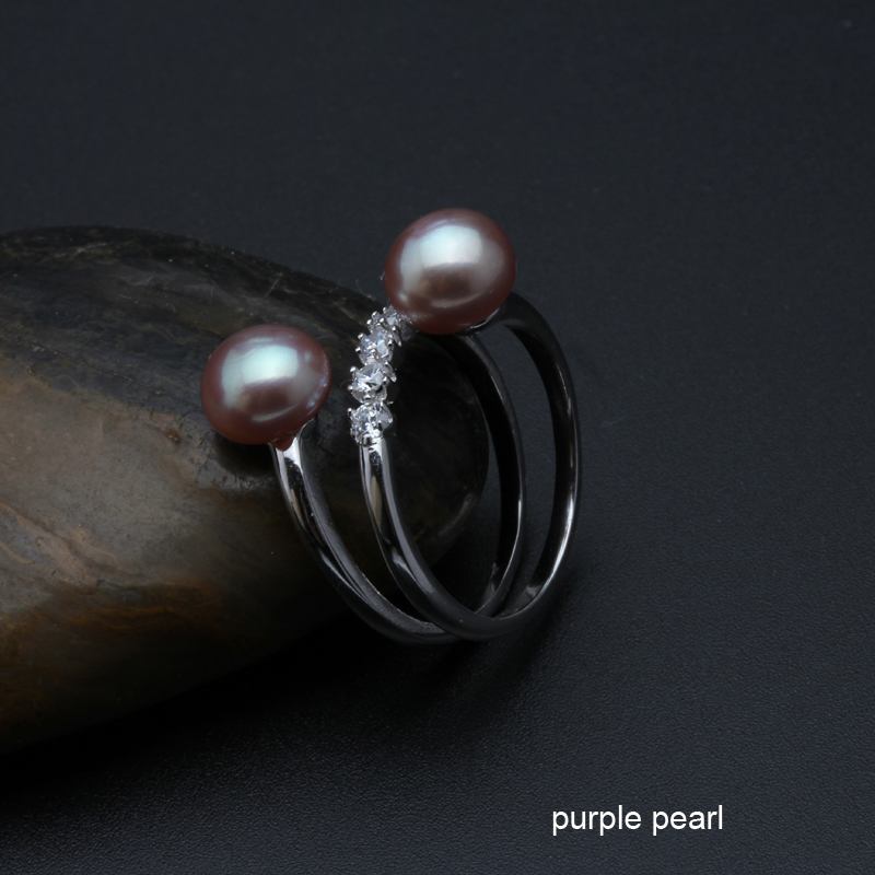 Freshwater pearl ring for women adjustable S925 silver finger ring jewelry double pearls engagement ring drop shipping fine gift in Rings from Jewelry Accessories