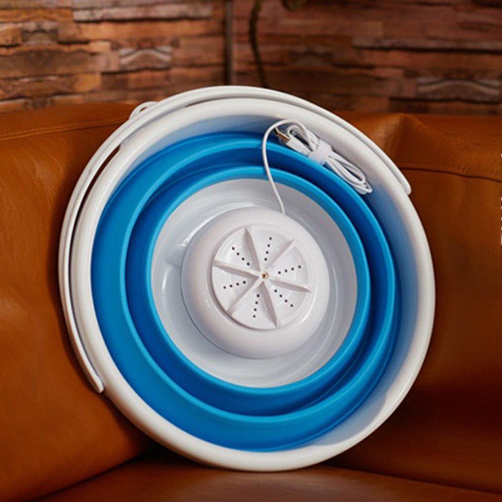 Mini Portable Ultrasonic Turbine Washing Machine Foldable Bucket Type USB Laundry Clothes Washer Cleaner For Home Travel
