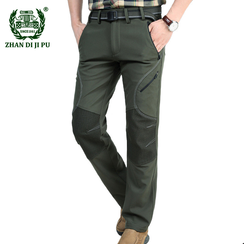 2018 Men's Winter Warm Fleece Army Green Straight Pants Man Afs Jeep Casual Brand Quick Dry Gray Pant Windproof Black Trousers