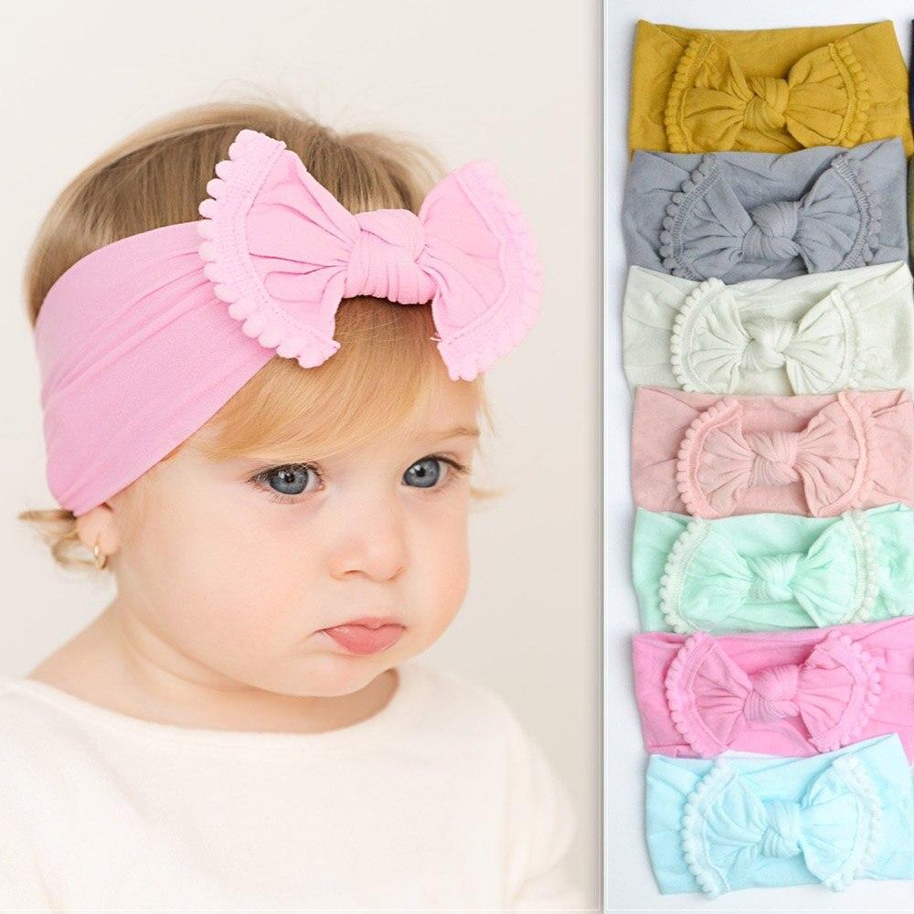 2019 Cute Baby Girls Kid Big Bow Headband 22 Candy Colors Cotton Nylon Elastic Turban Knot Head Wrap   Headwear   Hair Accessories