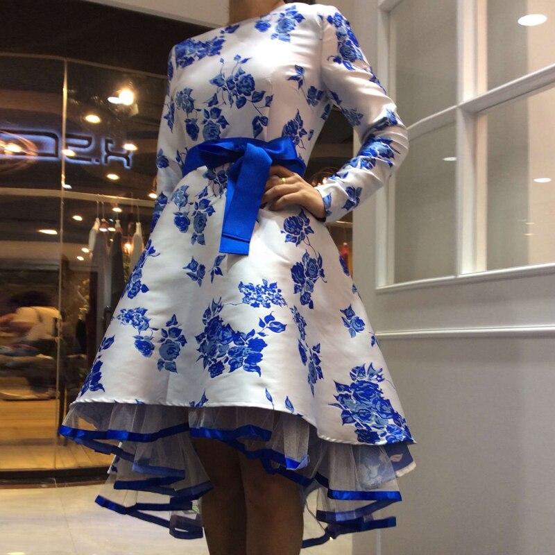 HIGH QUALITY Newest Fashion 2017 Runway Dress Women's Elegant Long Sleeve Blue White Porcelain Floral Jacquard Dovetail Dress