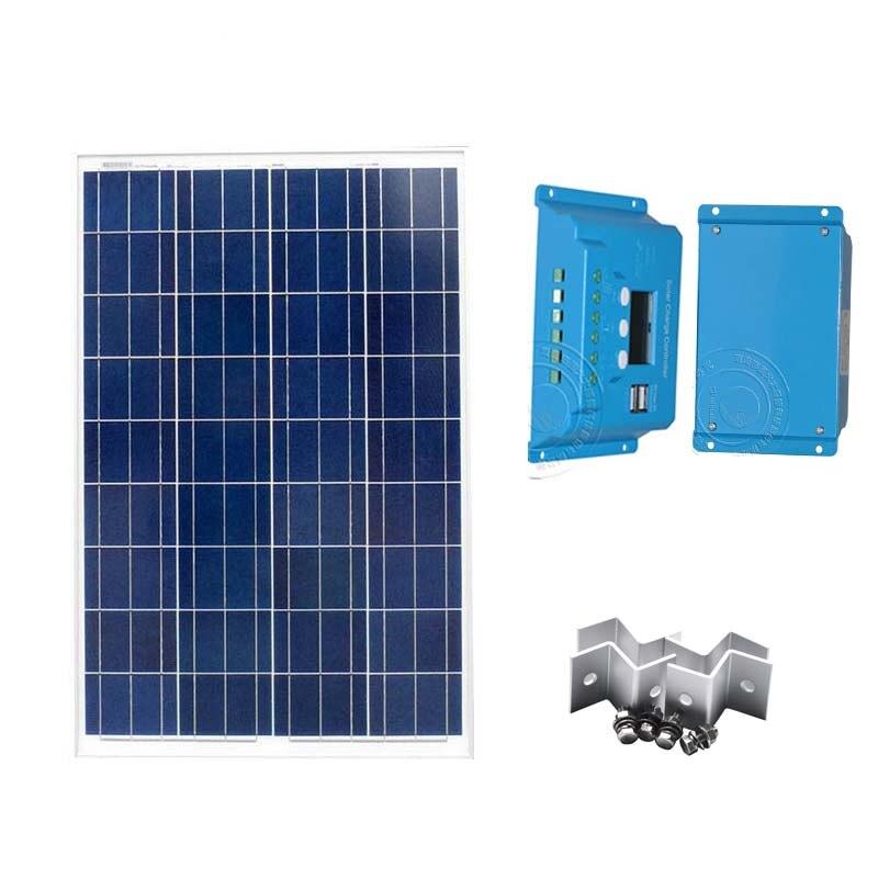 ФОТО Solar Panel Modules Kit 100W 12V Solar Charge Controller 10A 12V/24V USB For Phone Z Bracket Mounts Motorhome Caravan Camper