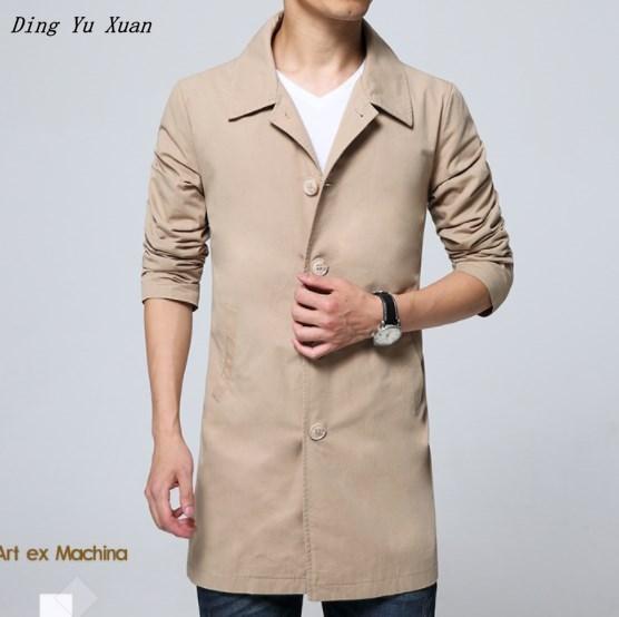 5XL 6XL Mens Classic Lange Trenchcoat Lente Herfst Koreaanse Stijl Mannen Enkele Breasted Trenchcoat Oversized Jas Windjack