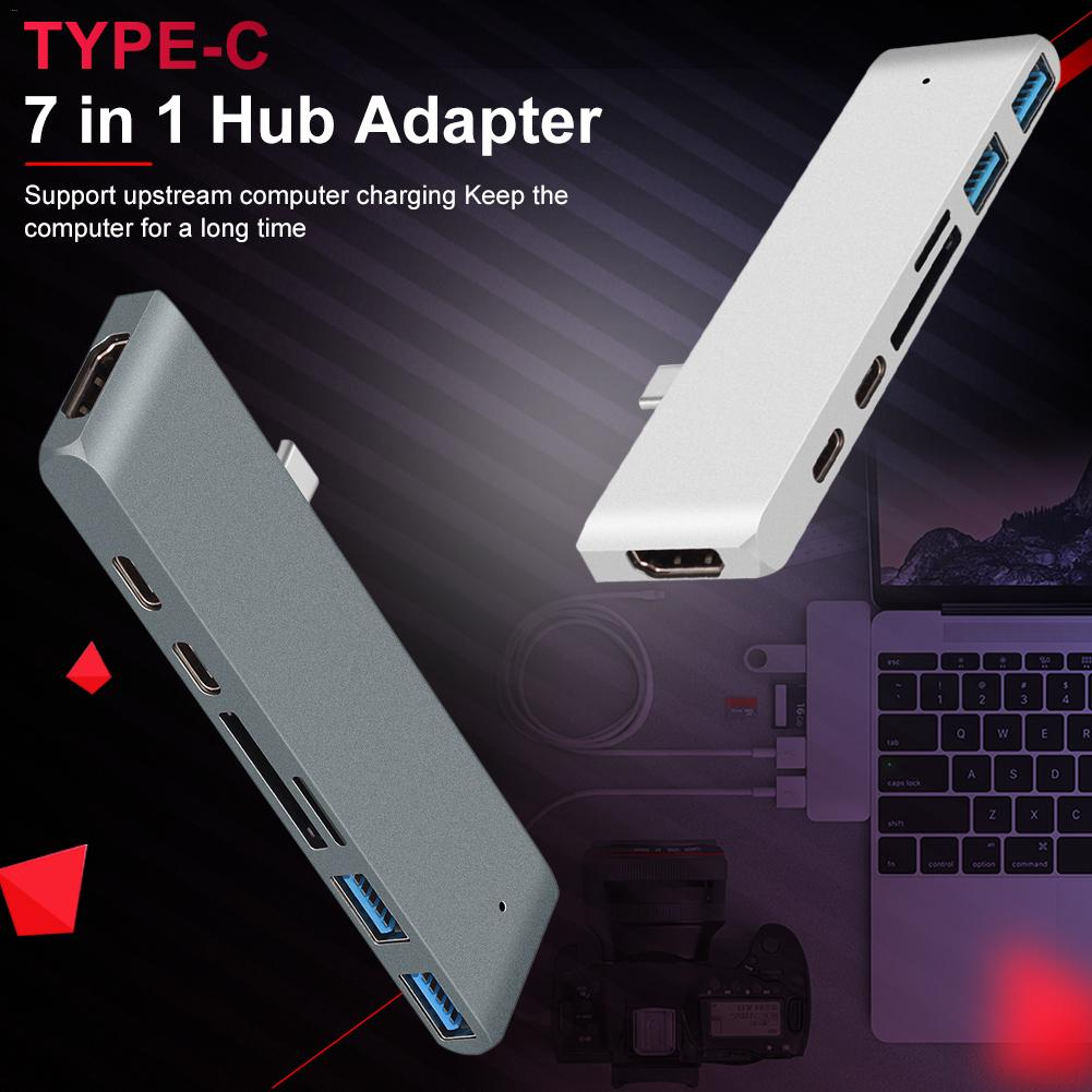 Type-c7 In One Hub Adapter For Mac Book 12 13 15 With 4K HDMI 2 Type-c Charging 5Gbs USB 3.0 And SD / Micro Card Reader
