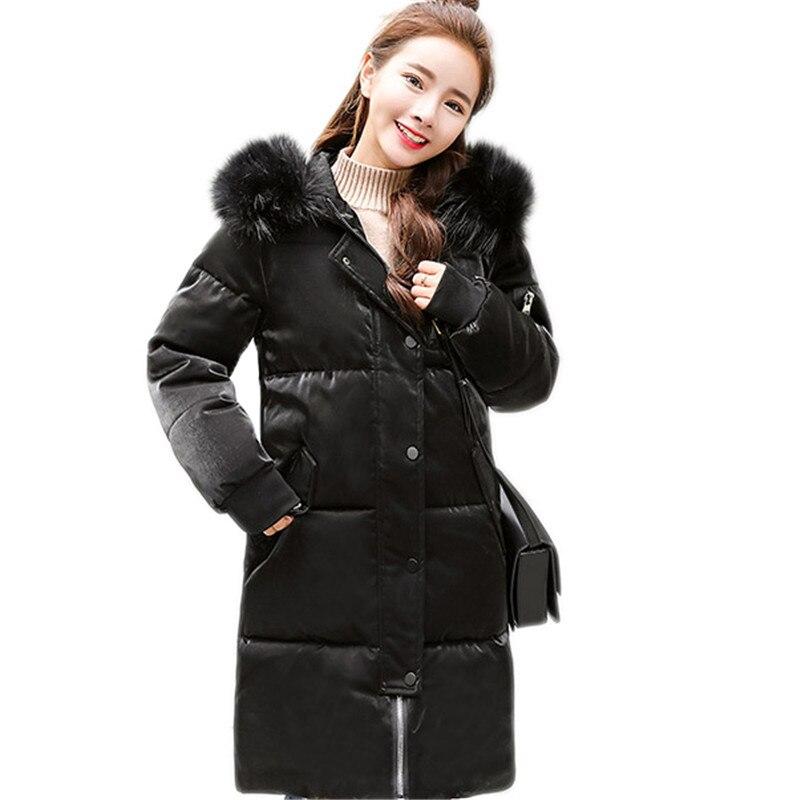 Winter women outerwear 2018 new medium long hooded fur collar female cotton jacket loose thickening Leisure ladies   parkas   cw457