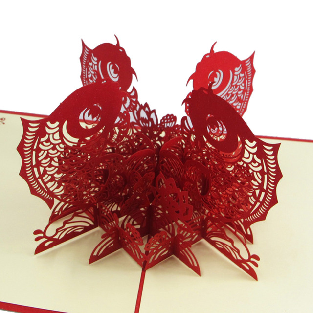 chinese happy new year 3d fish personalized handmade 3d greeting cards 10pcs free shipping