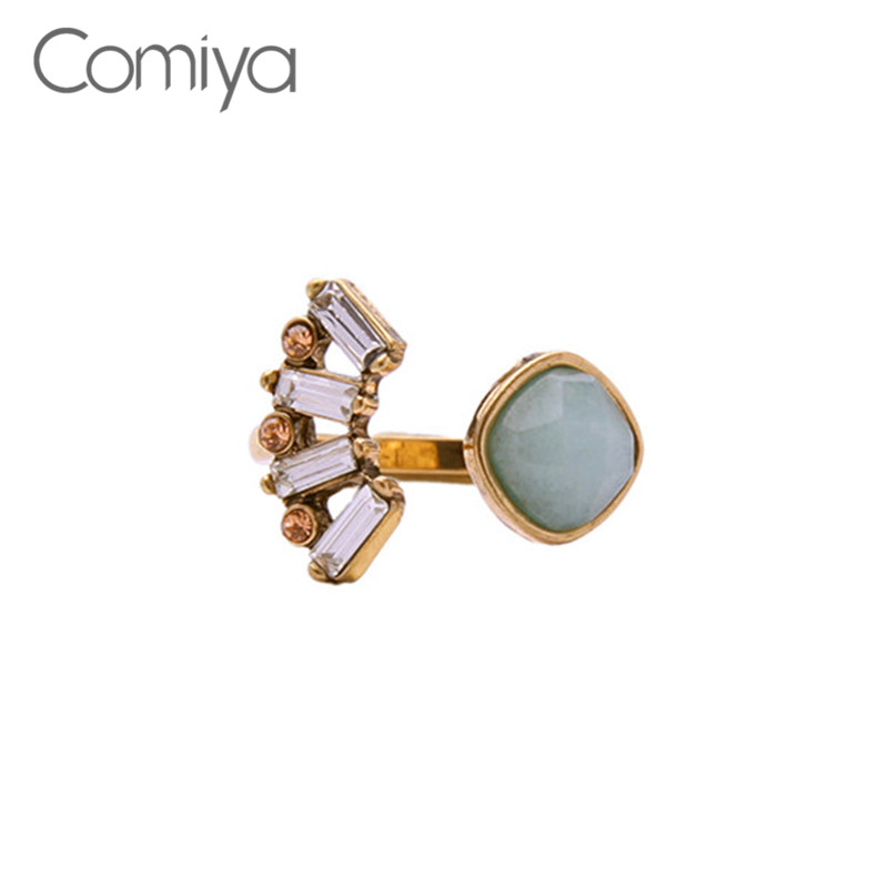 Comiya Fasshion Crystal Stones Zinc Alloy Flower Charm Women Open Finger Eings Dilatatore Orecchio Body Chain Jewelry Lady Ring