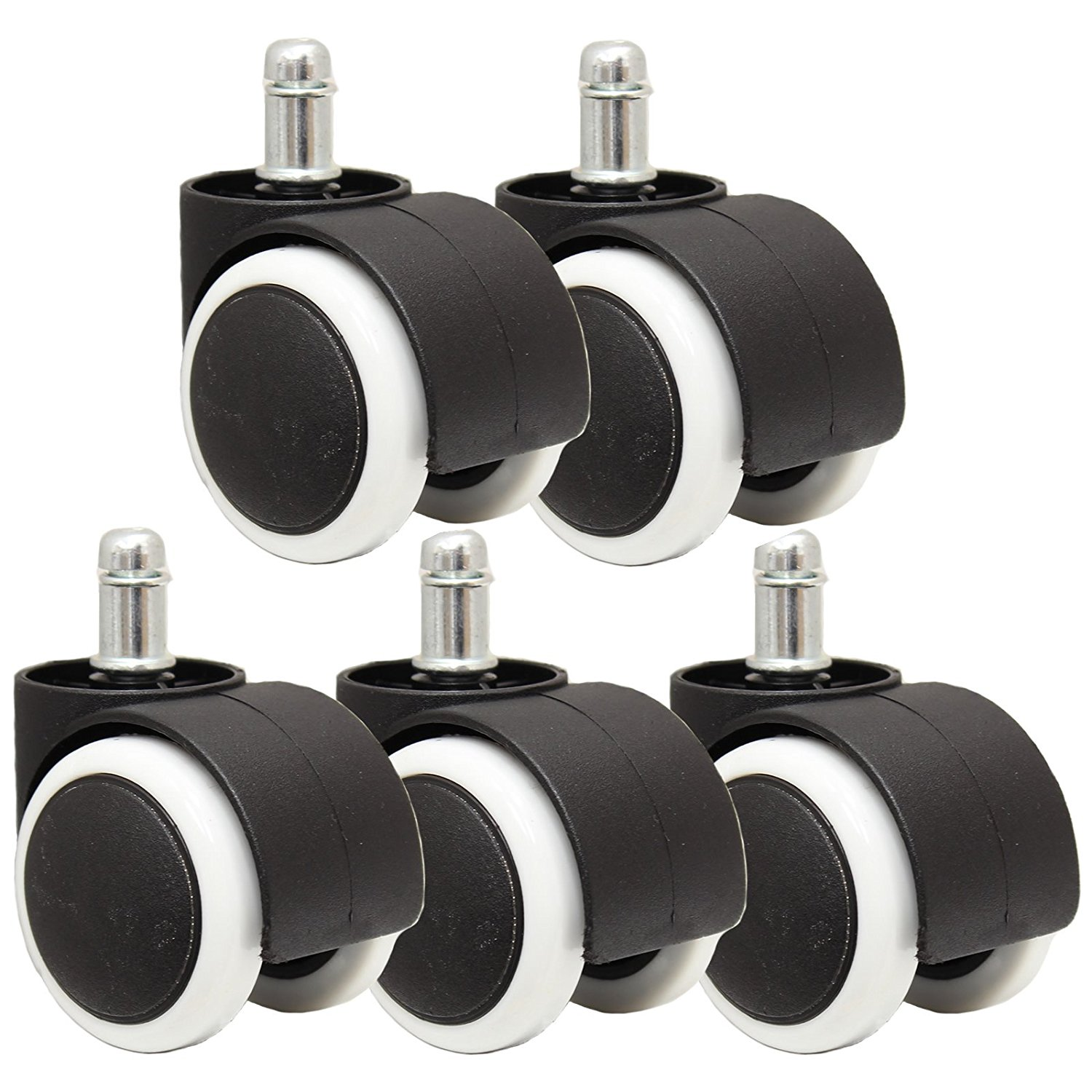 5 pcs Universal casters Office Chair 360 Degree swivel Roller Castor Wheels black&white Wheel diameter 50mm